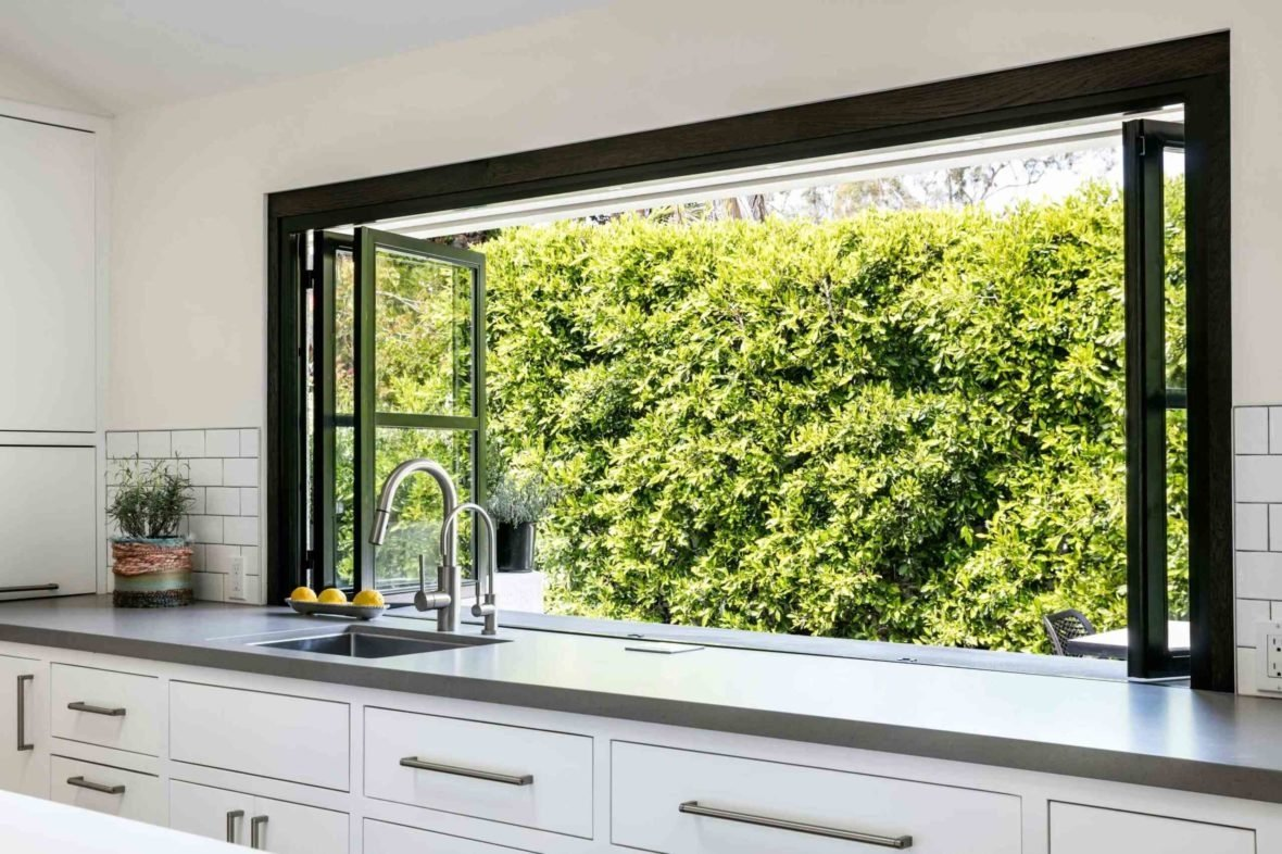 contemporary enlarged windows in kitchen