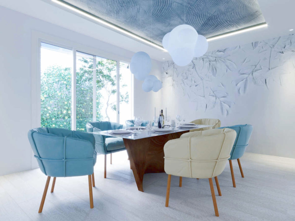 modern dining room design with cloud lighting