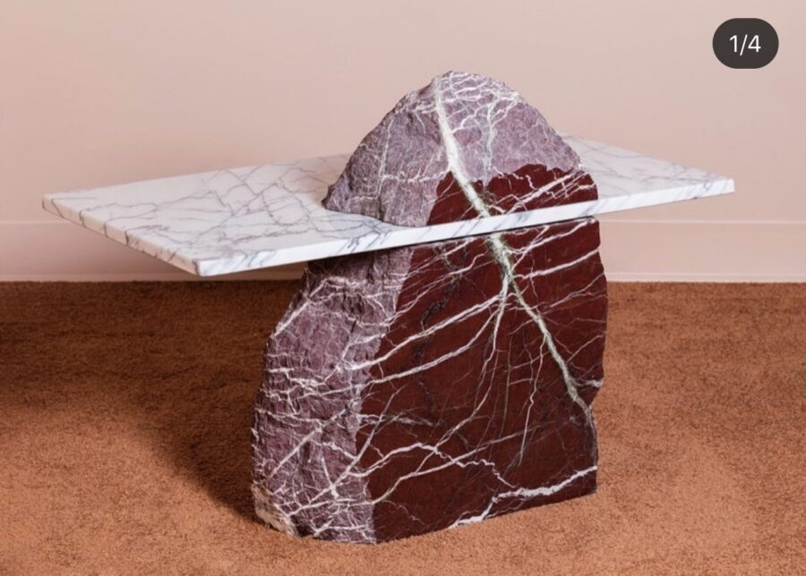 marble side table red