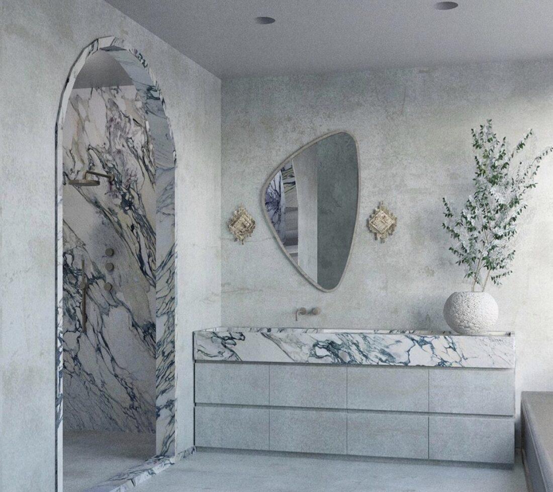 Contemporary Calacatta marble bathroom
