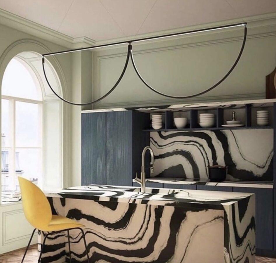 contemporary unique marble kitchen